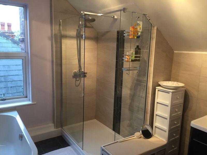 Shower with panels and deflector: Swipe To View More Images